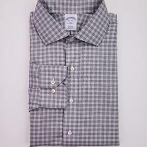 Brooks Brothers Slim Fit Shirt 17 32/33 Gray Check